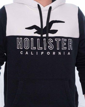 Pánská mikina Hollister Colorblock čiernobiela fd5ec3060d2
